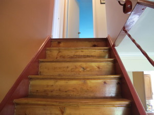 Stairs were only lightly refinished and stained.